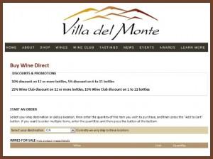 Villa del Monte Winery shop page